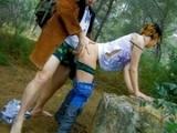 Jeune fille baisée vulgairement en forêt